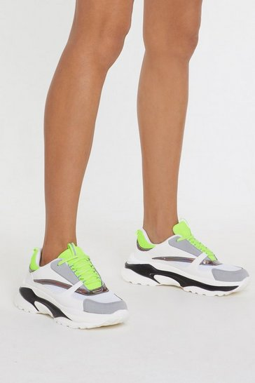 Womens White Light's Out Neon Chunky Trainers