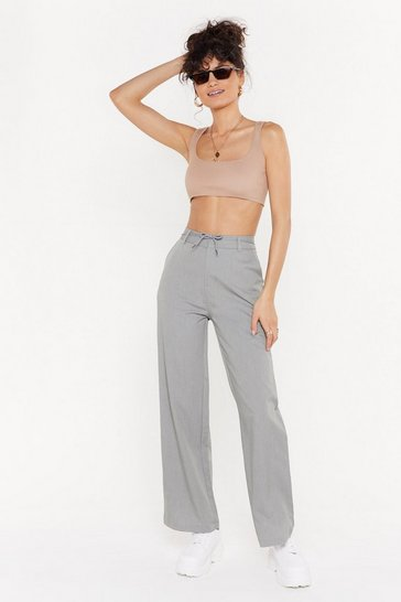 Womens Grey Straight Leg Suit Trousers