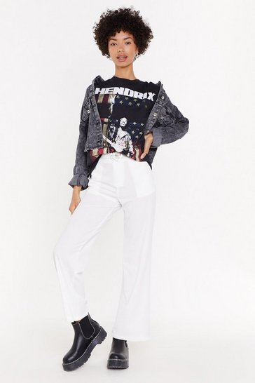White Suit Yourself High-Waisted Straight Leg Trousers