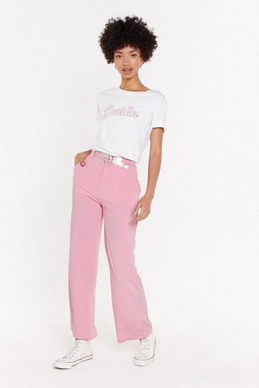 Womens Pink Tapered Suit Trousers
