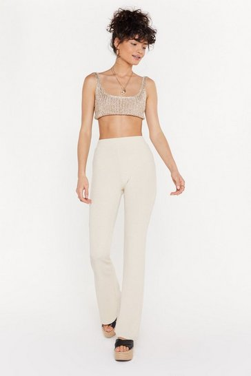 Womens Cream Flare Me Down Ribbed High-Waisted Trousers