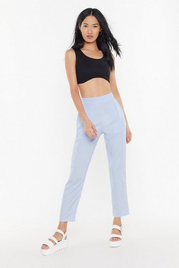 Womens Blue Mini Gingham Tapered Pants