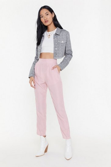 Womens Pink Mini Gingham Tapered Pants