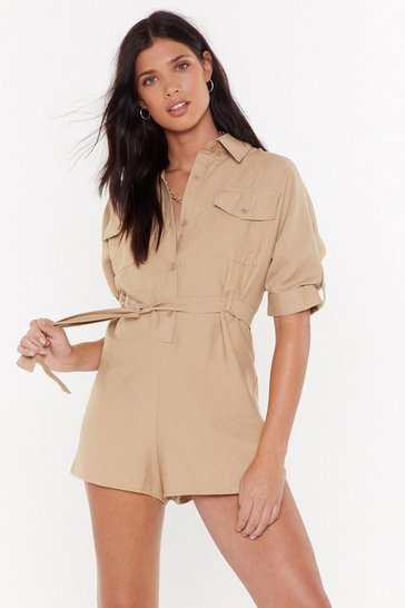 Womens Sand No Reason to Tie Belted Utility Romper