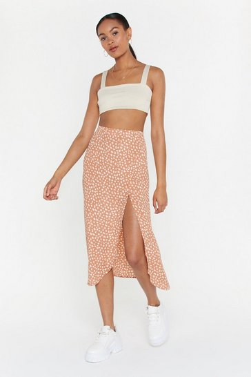 Womens Peach Abstract Yourself Animal Midi Skirt