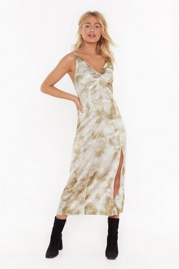 Womens Khaki Satin Tie Dye Knot Front Midi Dress
