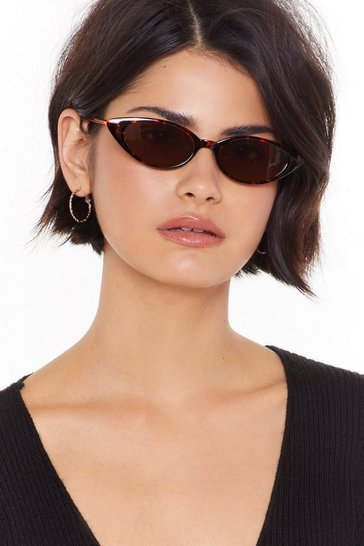 Womens Gold Going Out on a Slim Tortoiseshell Sunglasses