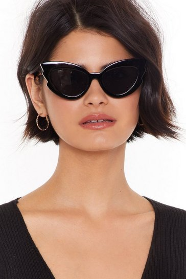 Womens Black Cat-Eye and Bye Notched Sunglasses