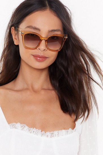 Womens Gold Get Some Perspex-tive Square Sunglasses