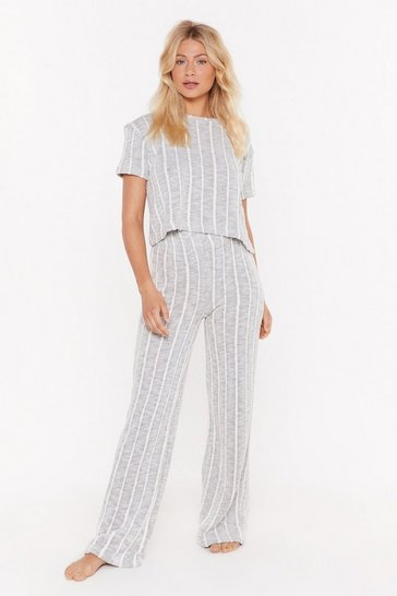 Womens Grey Be Done With Knit Striped Top and Pants Lounge Set