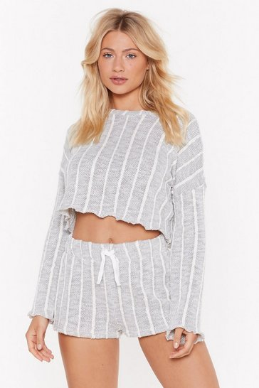 Womens Grey I Like How Knit Feels Striped Jumper and Shorts Set