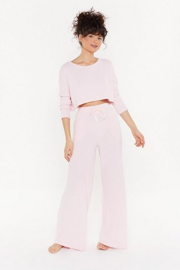 Womens Pink Towelling Wide Leg Trouser