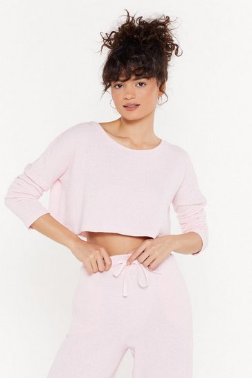 Womens Pink Towelling Slash Neck Lounge Sweater