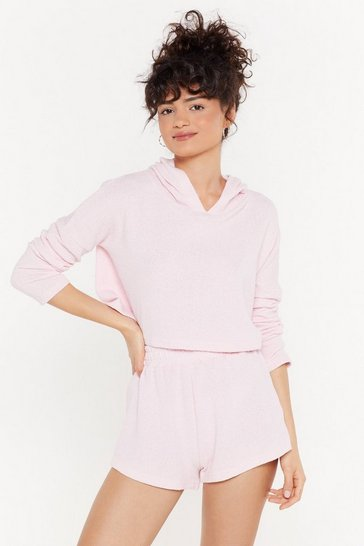 Womens Pink Towelling Lounge Hoody