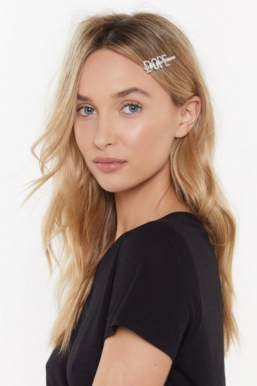 Womens Silver Dope Diamante Hair Slide