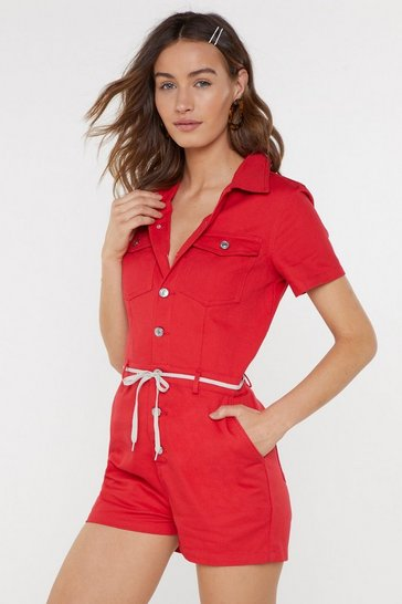 Womens Red Denim Romper