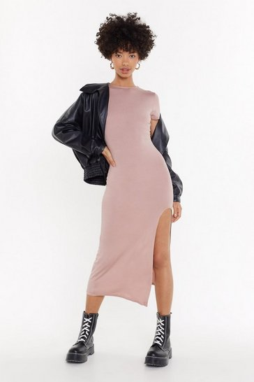 Womens Blush Slit While You're Ahead Midi Dress