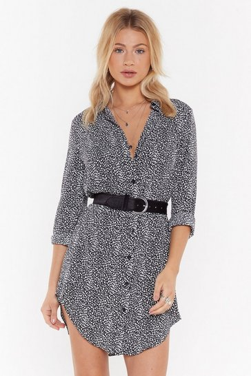 Womens Black Spot to Love You Abstract Relaxed Shirt Dress