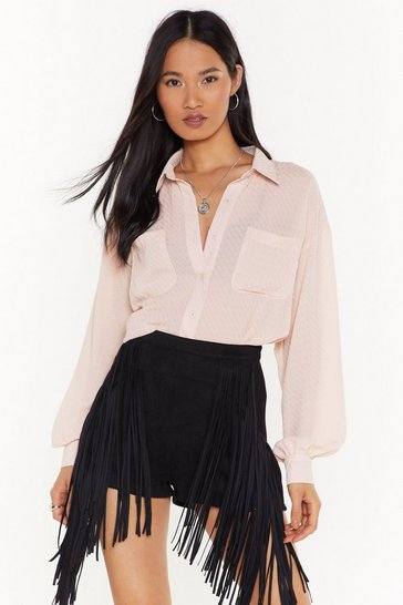 Womens Nude Nothing to See Sheer Oversized Shirt