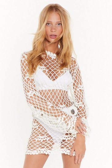 Womens White Catch Me If You Can Crochet Mini Dress