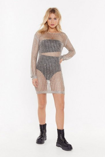 Womens Gold Open Your Eyes Metallic Knit Mini Dress
