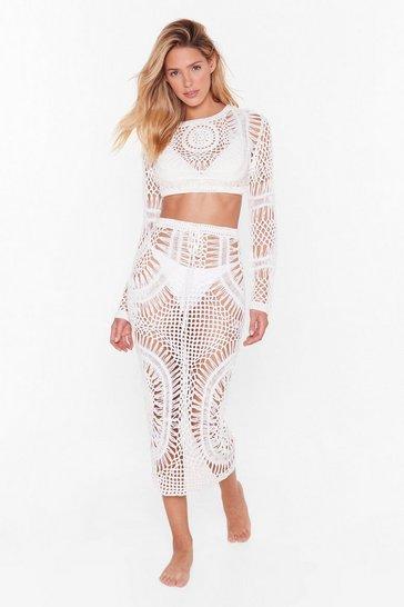 White Get Some Air Crochet Midi Skirt