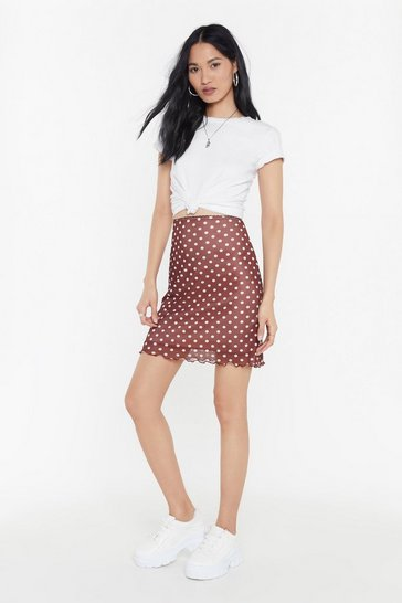 Womens Blush Polka Dot Lettuce Hem Mesh Mini Skirt