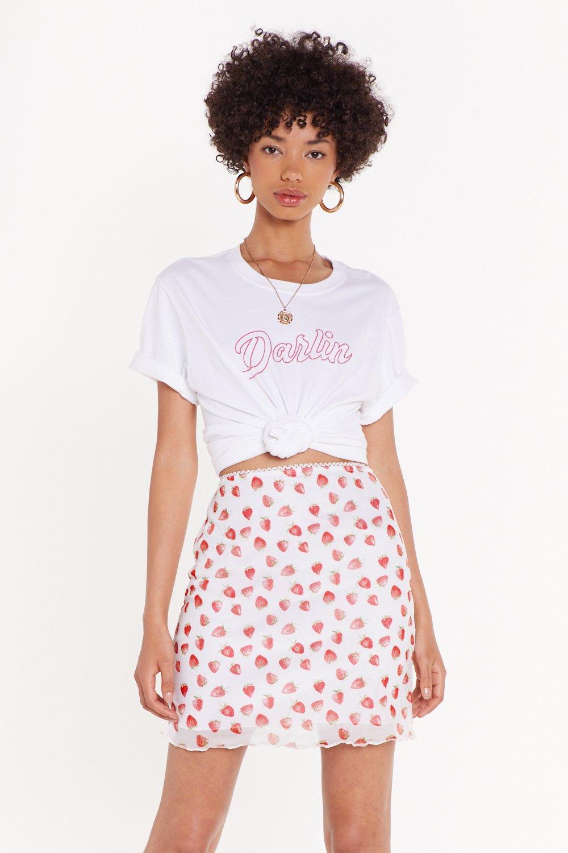 Lettuce Hem Strawberry Mesh Mini Skirt by Nasty Gal