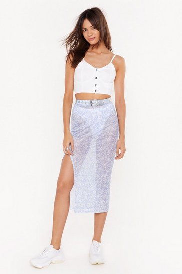 Womens Blue Floral Obligation Mesh Midi Skirt