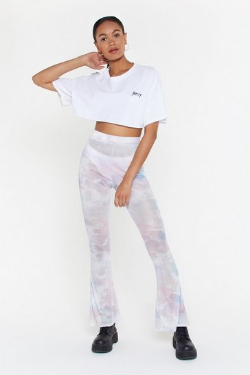 Womens Pink Mesh From the Festival Tie Dye Flare Trousers