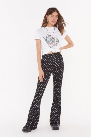 Womens Black Grow the Distance Floral Flared Trousers