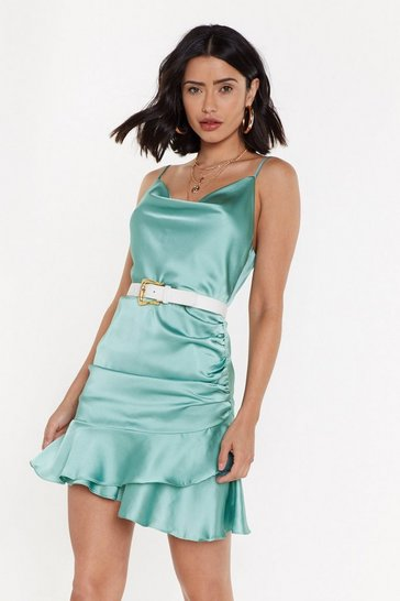 Womens Sage In Touch Satin Cowl Dress