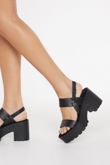 Black Chunky Cleated Open Toe Sandals
