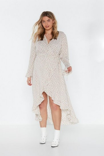 Womens White MS Ruffle Wrap Midi Tea Dress