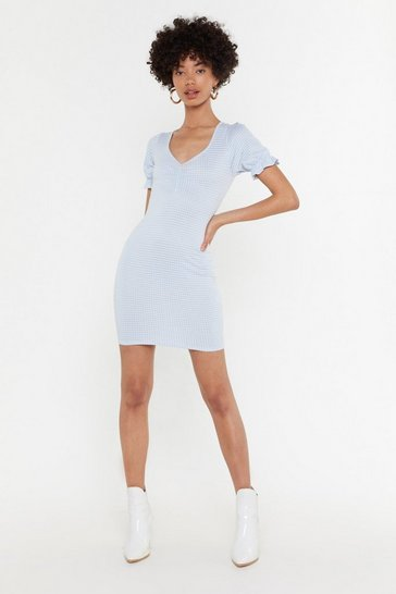 Womens Light blue Ging 'Em On Puff Sleeve Mini Dress