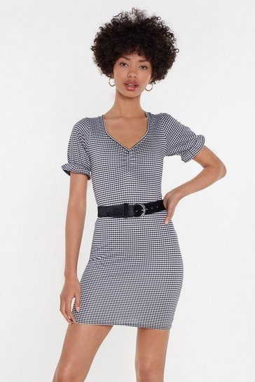 Womens Black Ging 'Em On Puff Sleeve Mini Dress