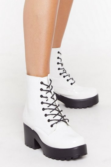 Womens White Patent Block Heel Lace Up Boots