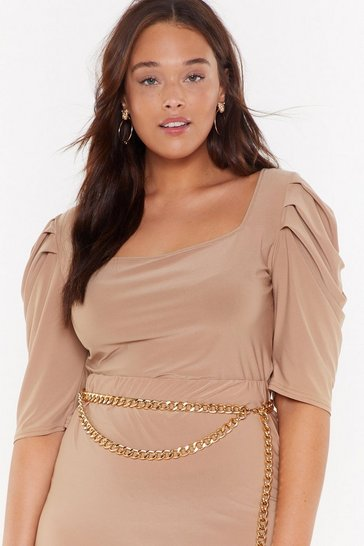 Womens Camel Square Neck Puff Sleeve Co-ord Crop Top