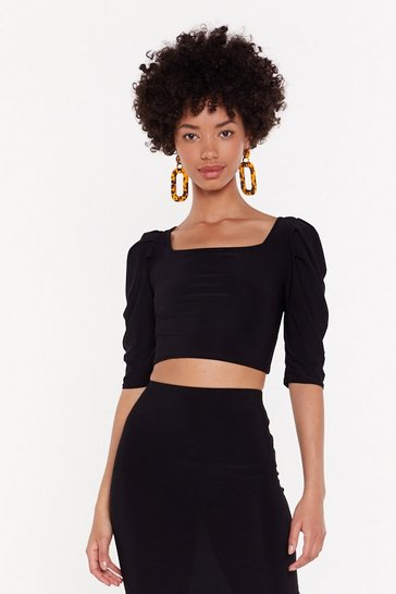 Womens Black Rock Your Body Puff Sleeve Crop Top