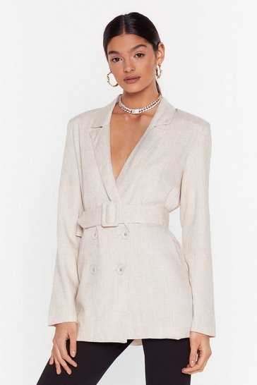 Womens Cream What's It to You Linen Belted Blazer