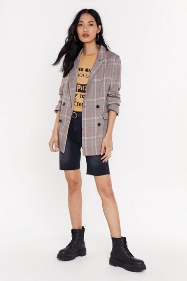 Womens Beige Oversized Check Blazer