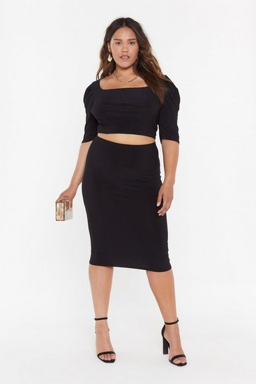 Womens Black Rock Your Bodycon Plus High-Waisted Skirt