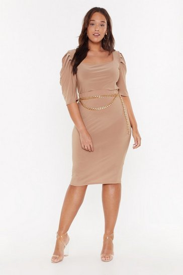 Womens Camel Rock Your Bodycon Plus High-Waisted Skirt