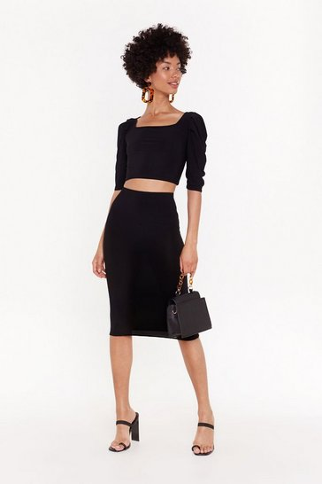 Womens Black Bodycon Co-ord Midi Skirt