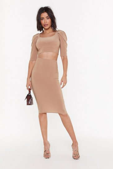 Womens Camel Bodycon Co-ord Midi Skirt