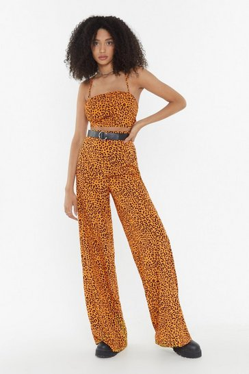 Womens Mustard Wild For the Night Leopard Wide-Leg Trousers