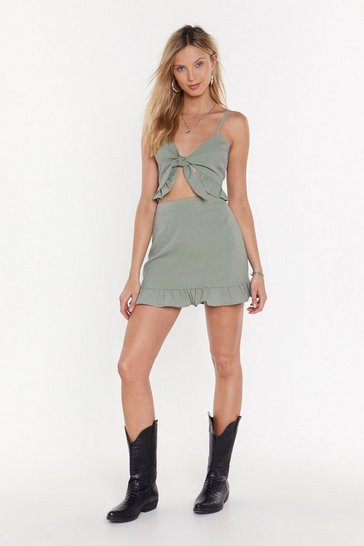 Womens Sage Close in for the Frill Ruffle Bra Top and Mini Skirt