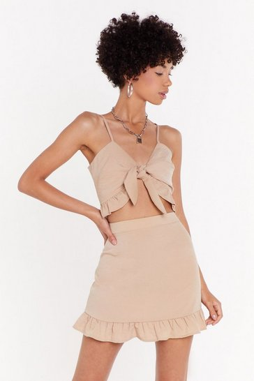 Beige Frill Got It Crinkle High-Waisted Co-ord