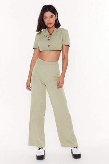 Womens Sage Party Line Pinstripe Wide-Leg Pants