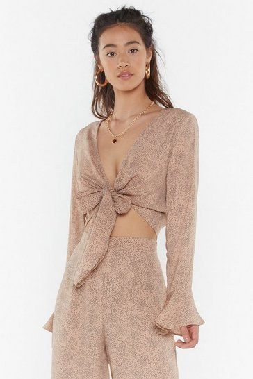 Womens Taupe Spot On Cropped Tie Top